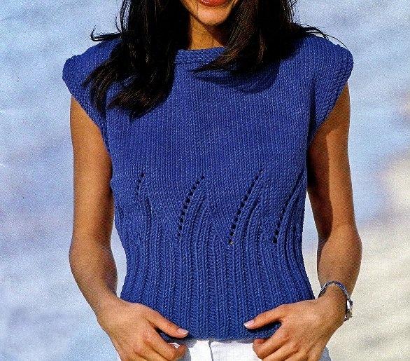 Lavori a maglia: crea una canotta blu a punto zig-zag