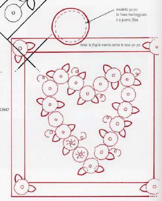 Cartamodello cuscino cuore e rose