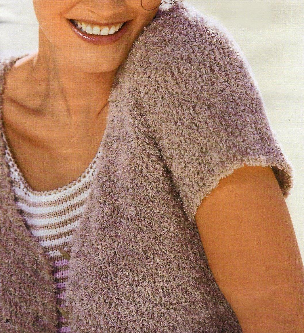 Crea una giacchina corta beige con i lavori a maglia