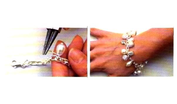 Illustrazioni bracciale argento e perle