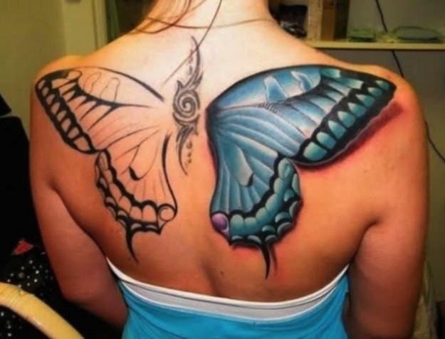 tatuaggi farfalle colorate 3d