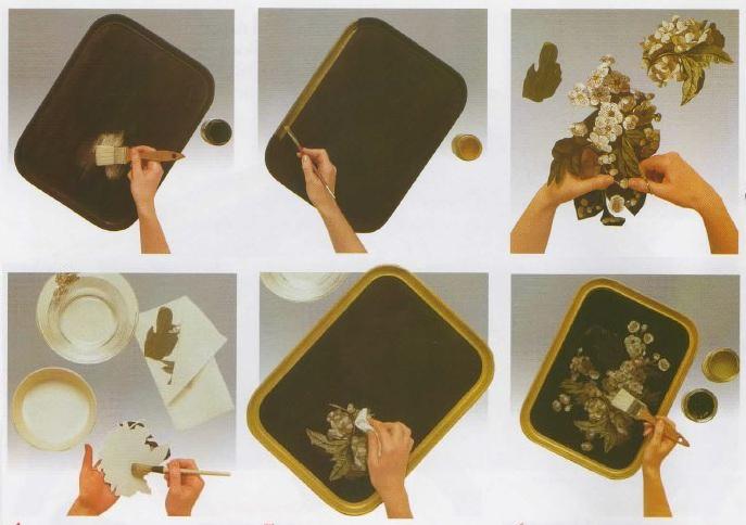Istruzioni decorazione decoupage vassoio
