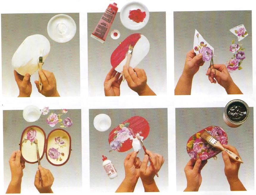 Istruzioni preparazione bauletto decoupage rose