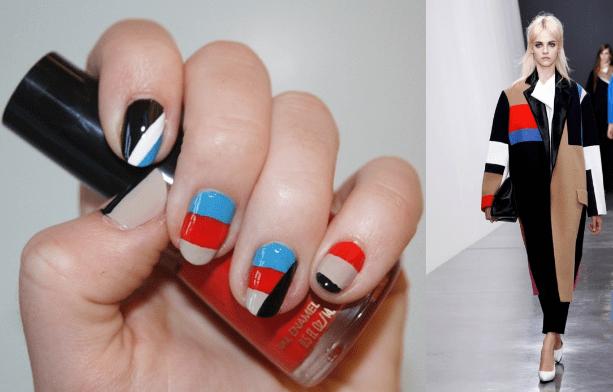 Manicure color blocking stile sfilata Celine