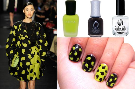 Manicure gialla e nera stile sfilata Diane von Furstenberg