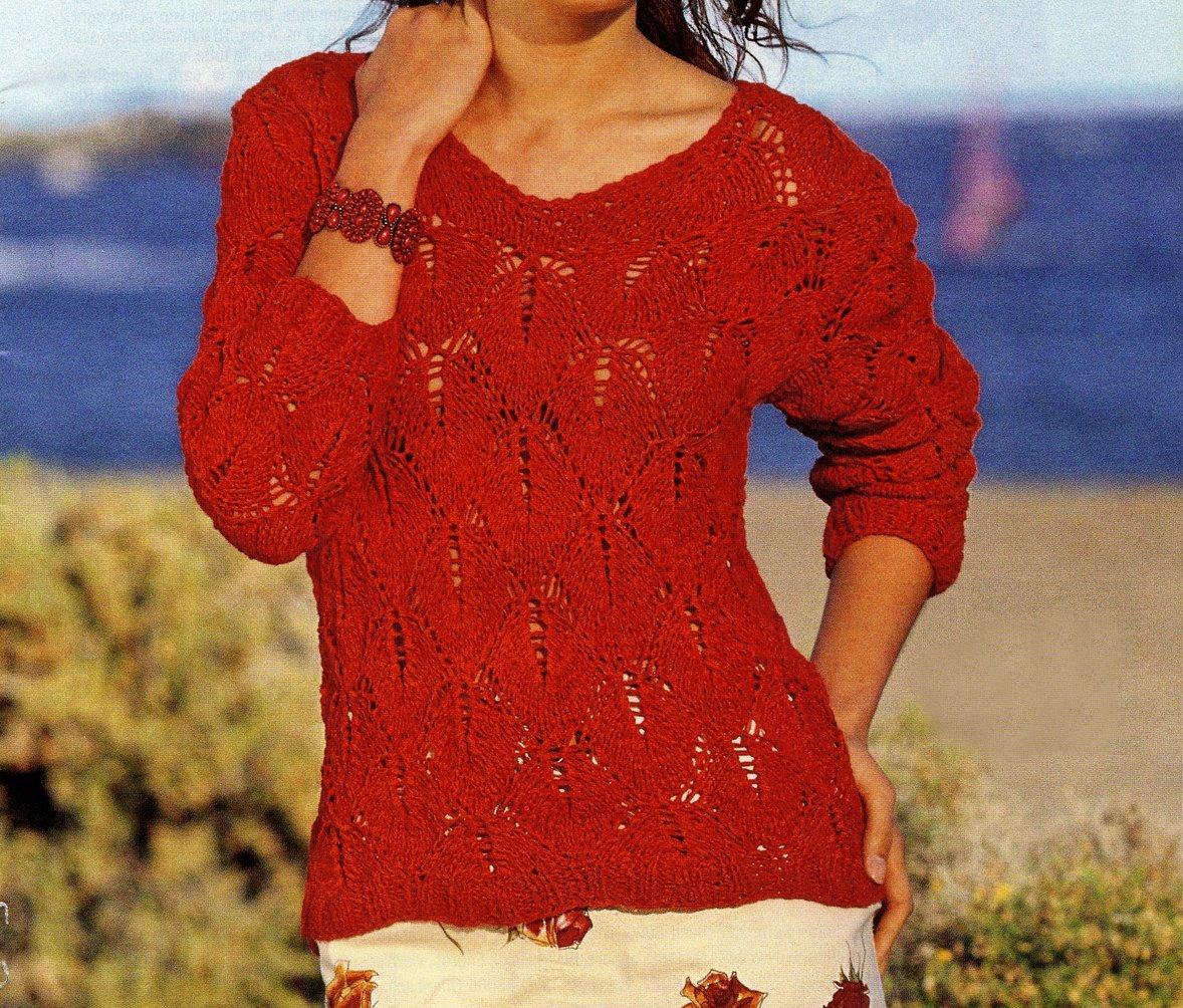 Crea Un Pullover Rosso A Punto Foglie Con I Nostri Lavori A Maglia