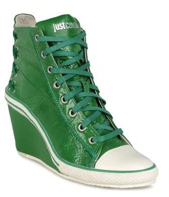 just cavalli sneakers con zeppa verdi