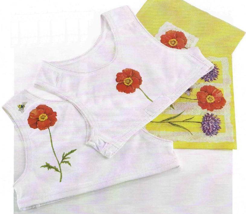 Decoupage creativo su magliette di cotone