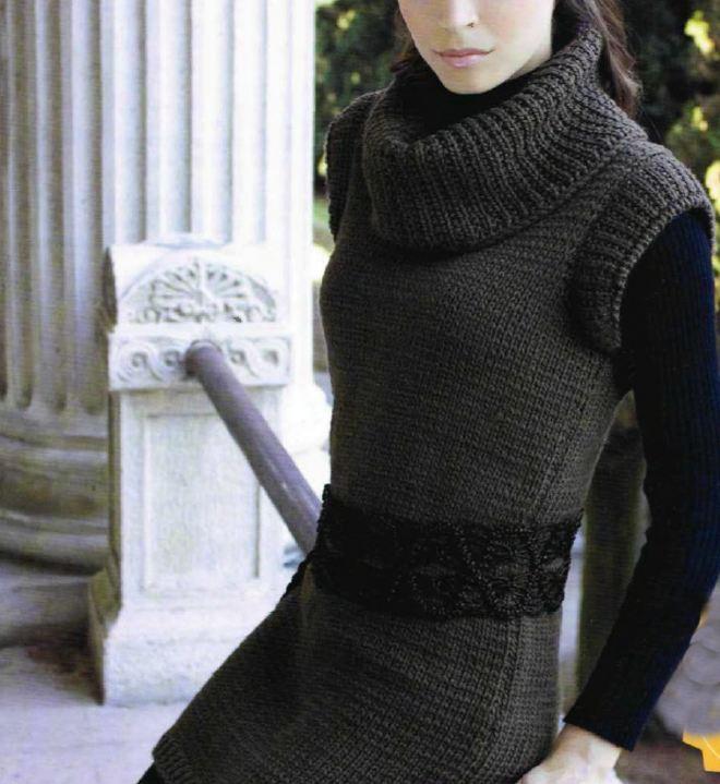 Lavori a maglia per creare una tunica senza maniche