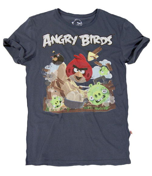 bershka t shirt angry birds blu