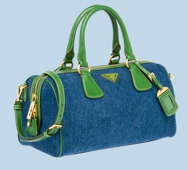 prada borse in denim bauletto bicolor