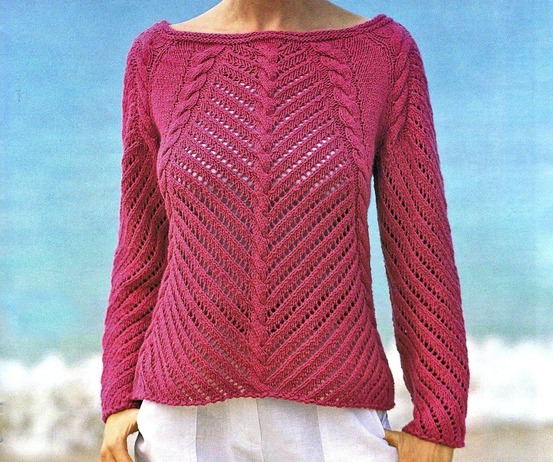 Lavori a maglia per creare un pull ajour rosa