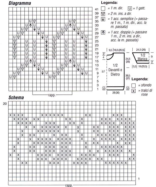Diagramma e schema bordure pullover bianco e azzurro