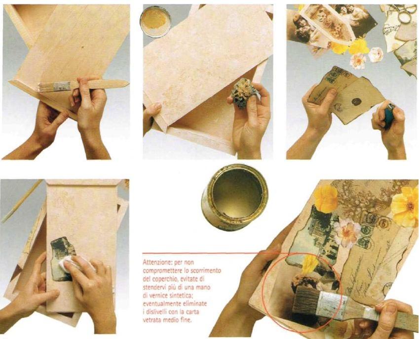 Istruzioni decorazione scatola portalettere decoupage angioletti