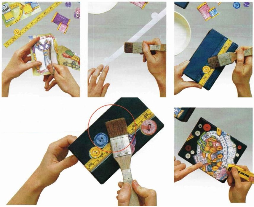 Istruzioni decorazioni scatola cucito decoupage