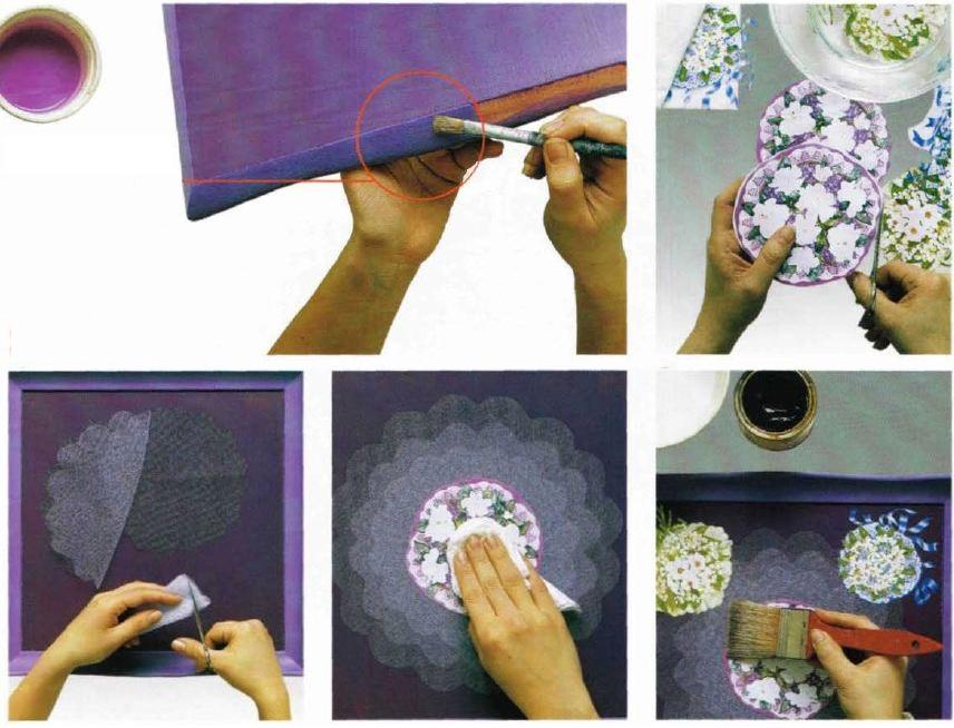 Istruzioni decoro vassoio quadrato in legno con bouquets decoupage