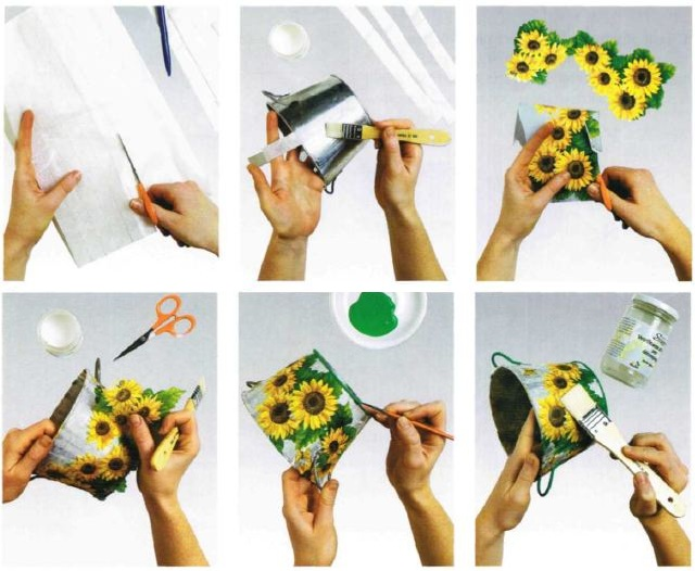 Istruzioni per la decorazione secchio girasoli decoupage