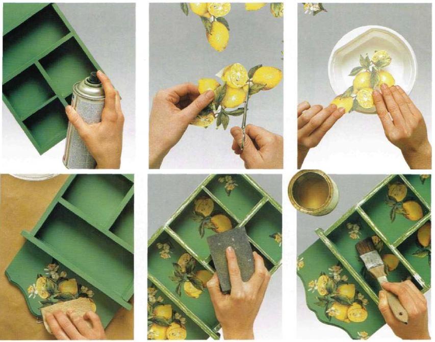 Istruzioni portachiavi da muro decoupage limoni