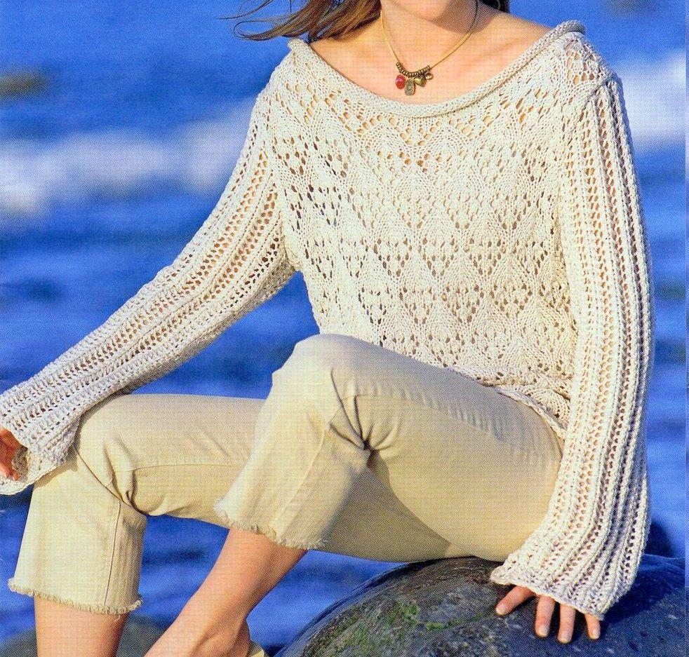 Crea un maglione beige punto ajour con i lavori a maglia