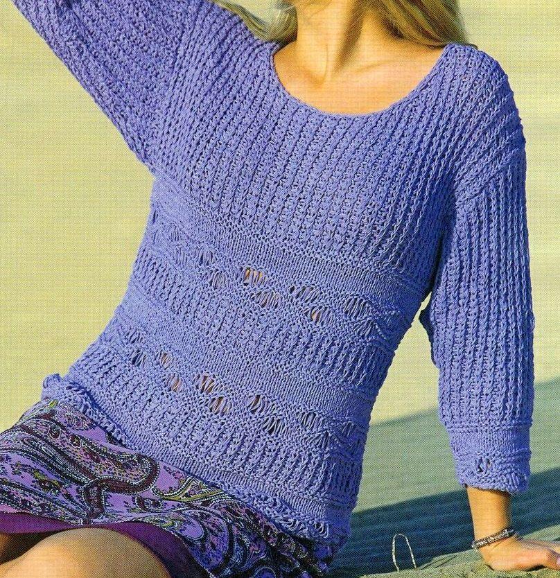 Crea un pullover lilla con i nostri schemi maglia gratis