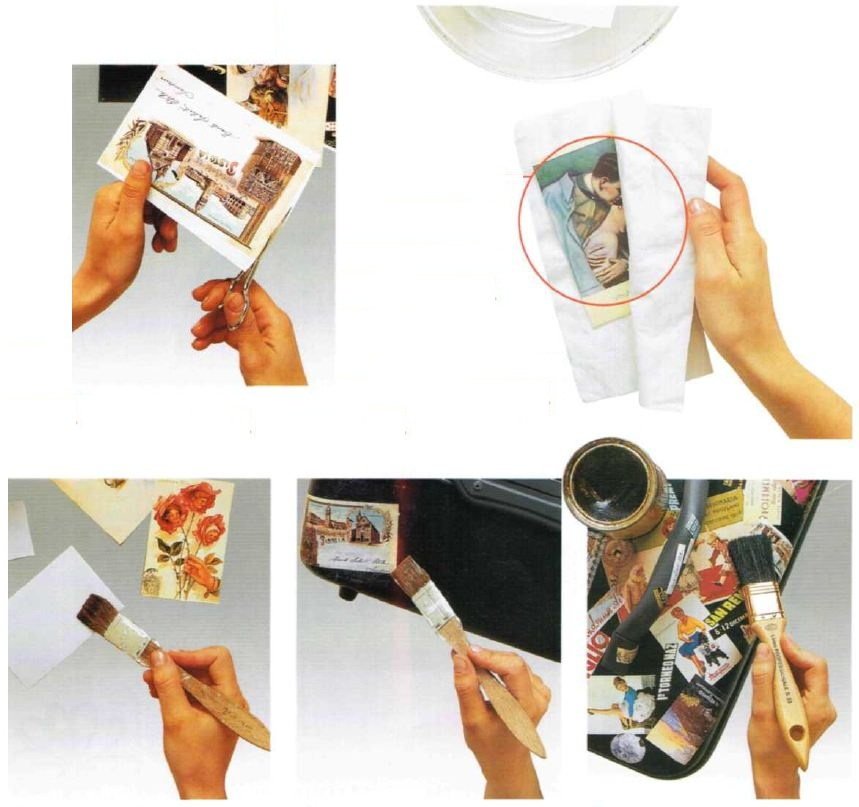 Beauty case decoupage cartoline istruzioni