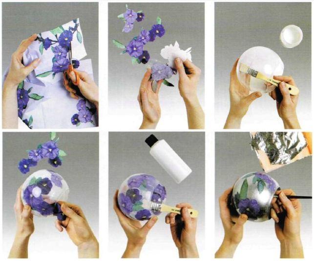 Decoupage floreale istruzioni boccia vetro