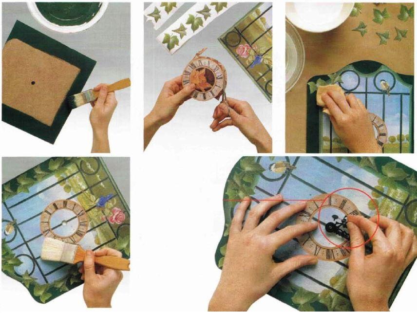 Istruzioni decoazione orologio decoupage stile Trompe l'oeil