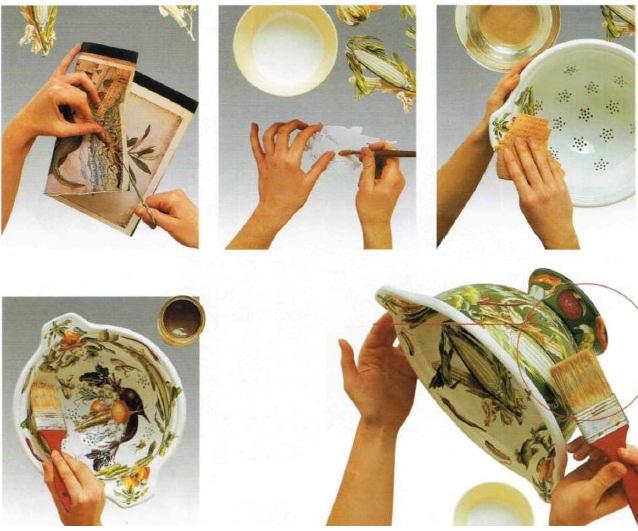 Istruzioni scolapasta decorato con verdure decoupage