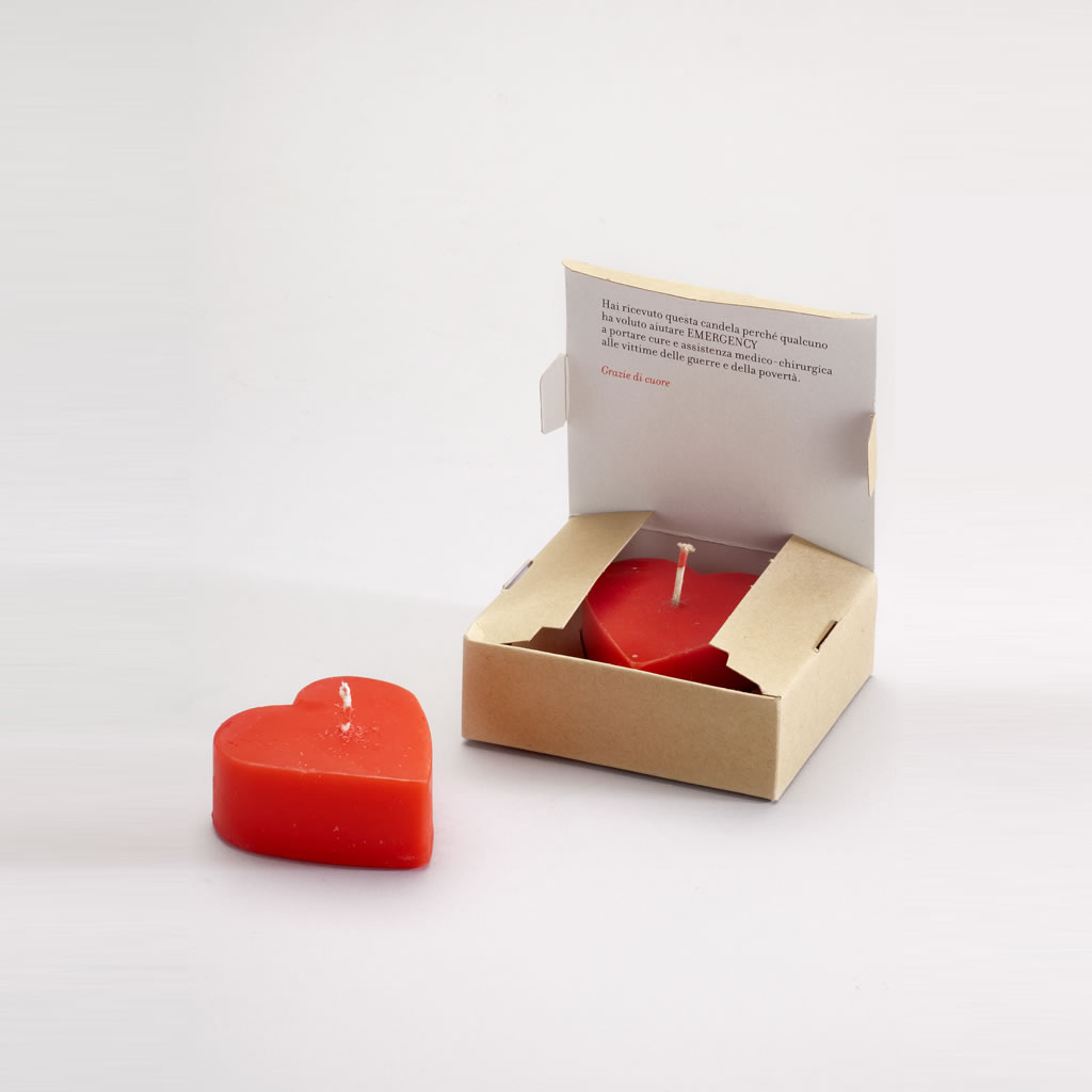 bomboniere solidali emergency scatolina con candela