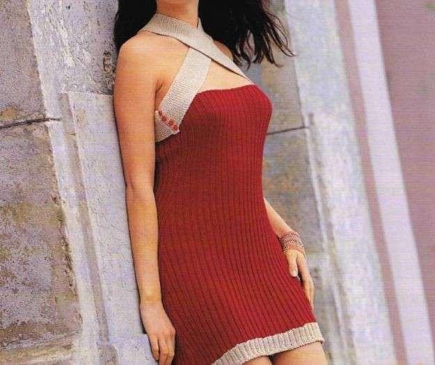 Miniabito rosso in maglia