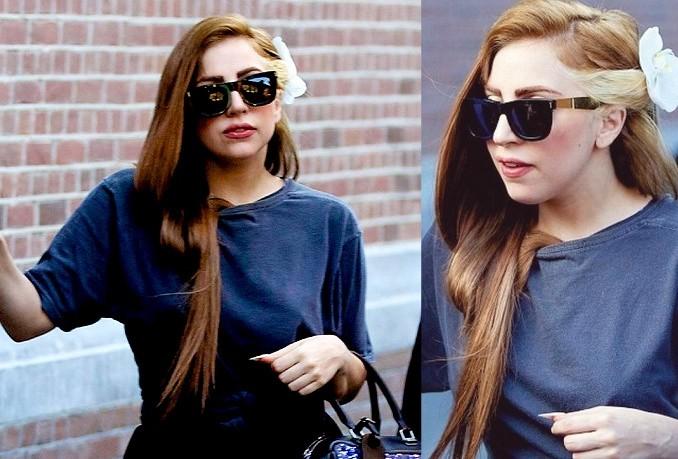 Lady Gaga con capelli castani