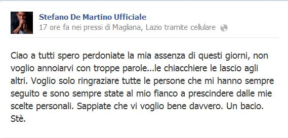 stefano de martino messaggio Facebook