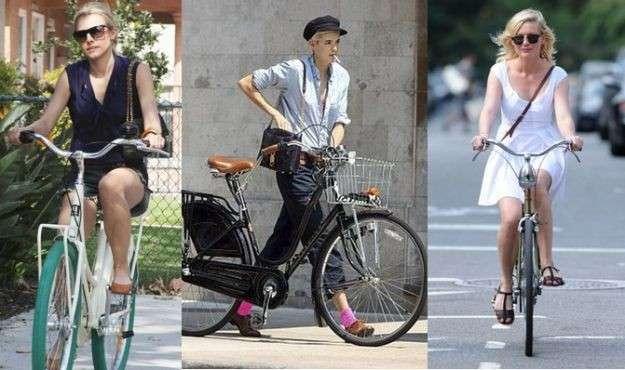 Celebrity con look da bicicletta