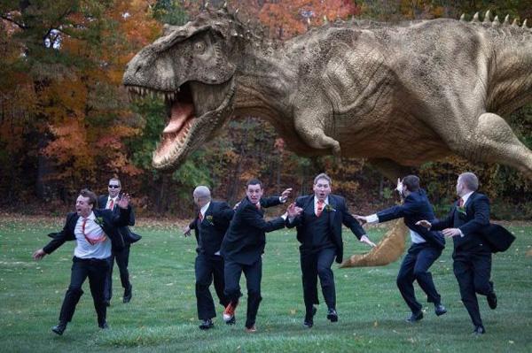 matrimonio divertente dinosauro