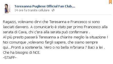 Teresanna Pugliese e Francesco Monte rottura post