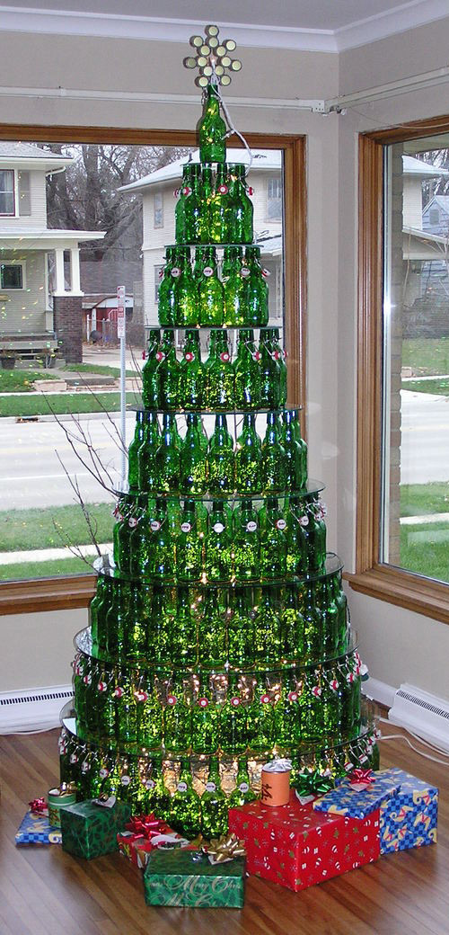albero natale bottiglie birra