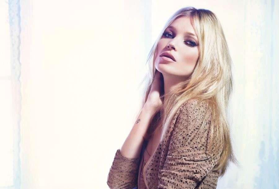 Kate Moss beauty look per servizio fotografico
