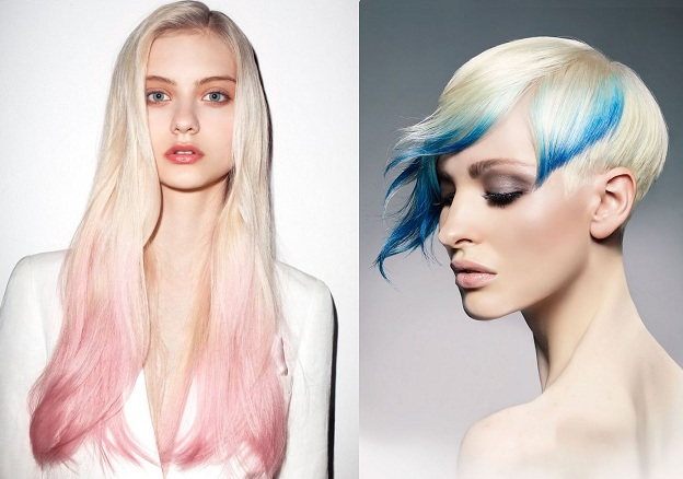 Rosa su capelli biondo platino