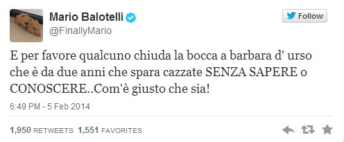 Mario Balotelli su Twitter attacca Barbara D'Urso