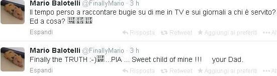 Mario Balotelli su Twitter riconosce la figlia Pia