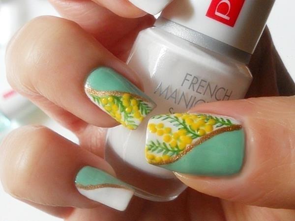 Mimosa nail art