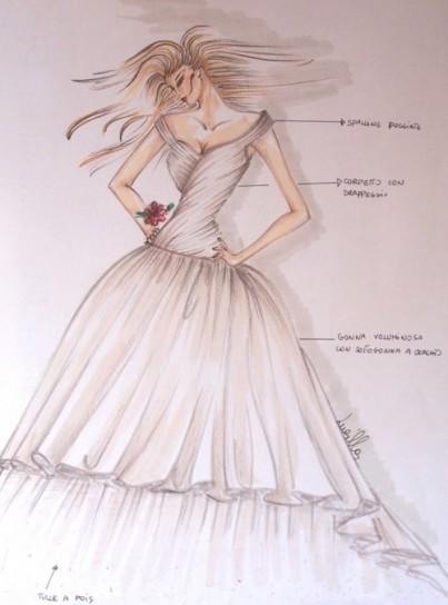 abito da sposa con gonna a balze