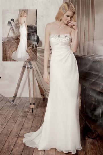 abito da sposa per donne basse radiosa scivolato