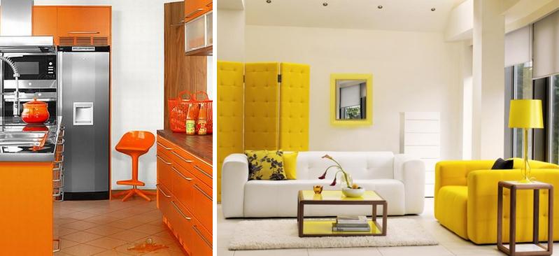 Una casa con i colori caldi