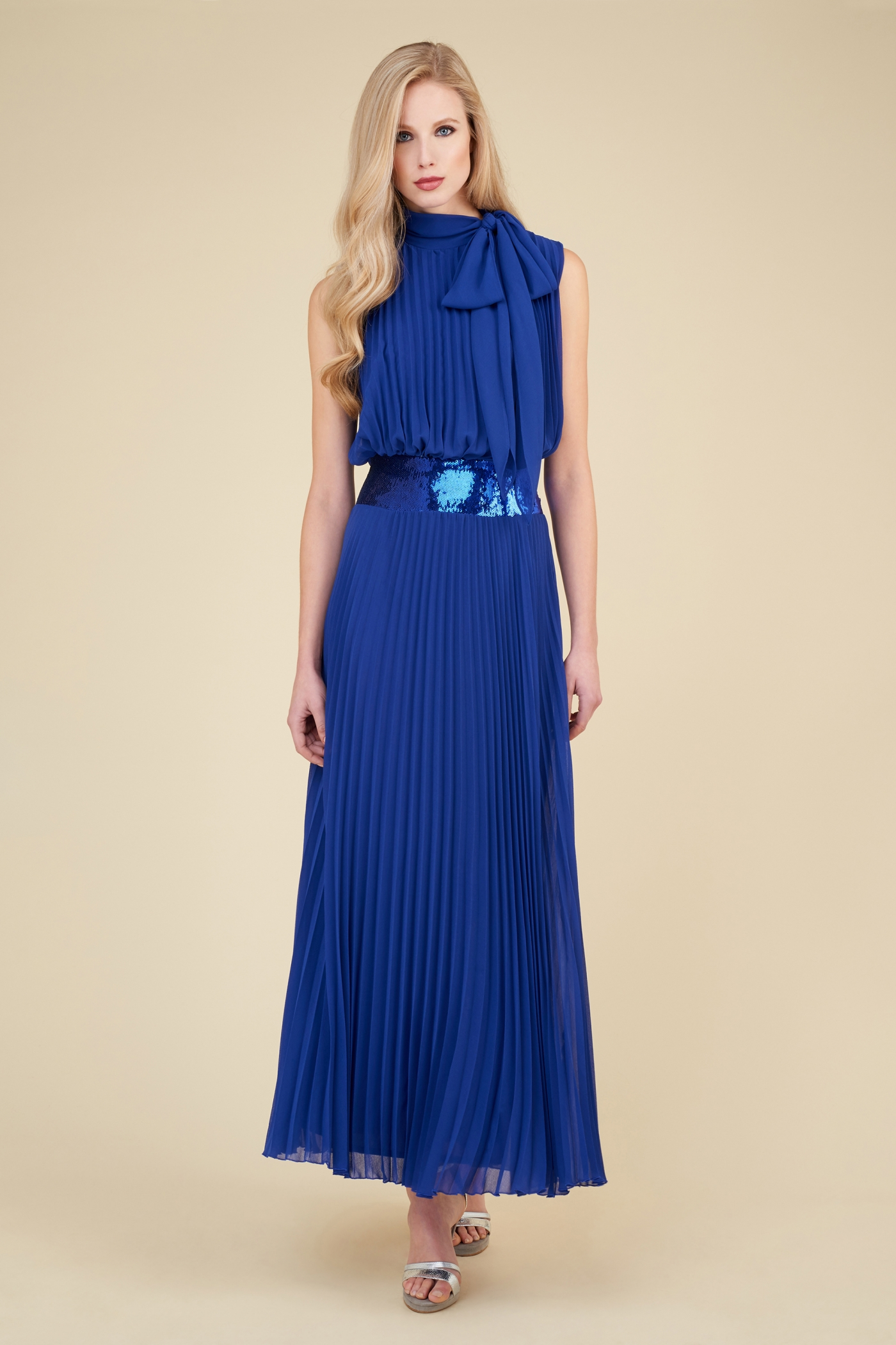 Vestito da cerimonia blu lungo Luisa Spagnoli