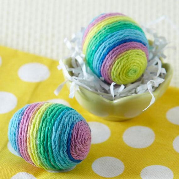 uova pasqua decorate lana