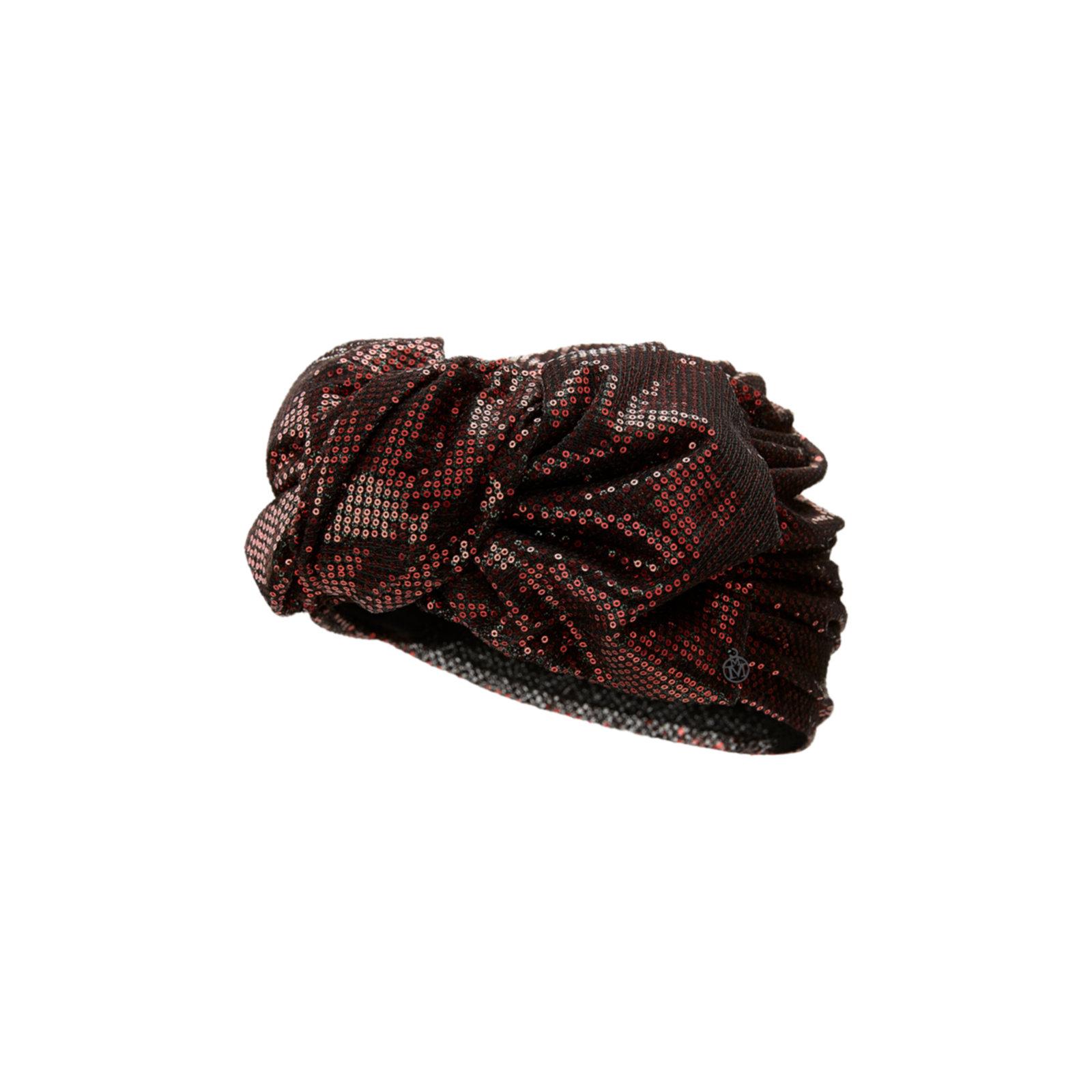 Cappello da cerimonia piccolo con paillettes bordeaux Maison Michel
