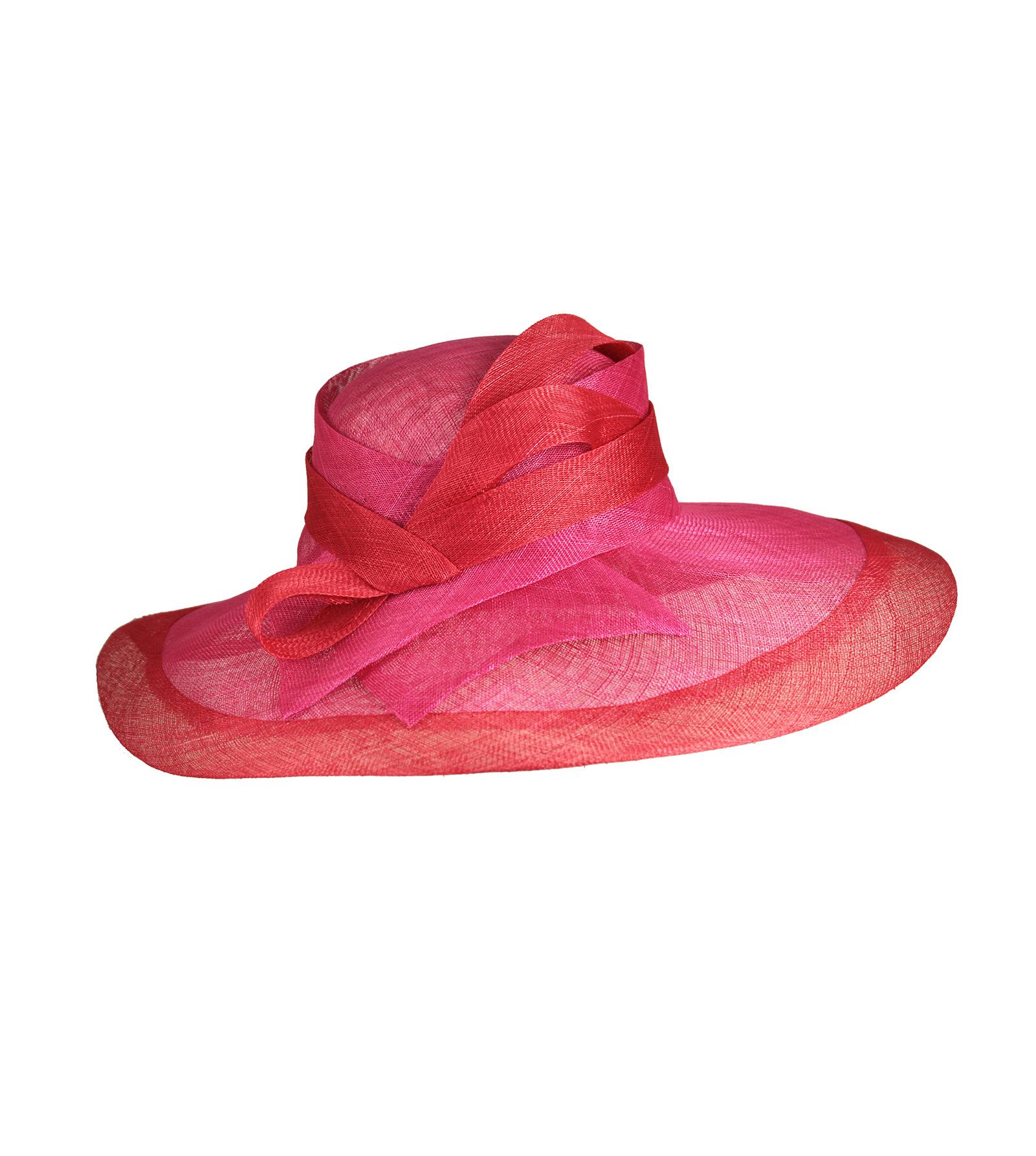 Cappello da cerimonia rosa e rosso per l'estate Marzi