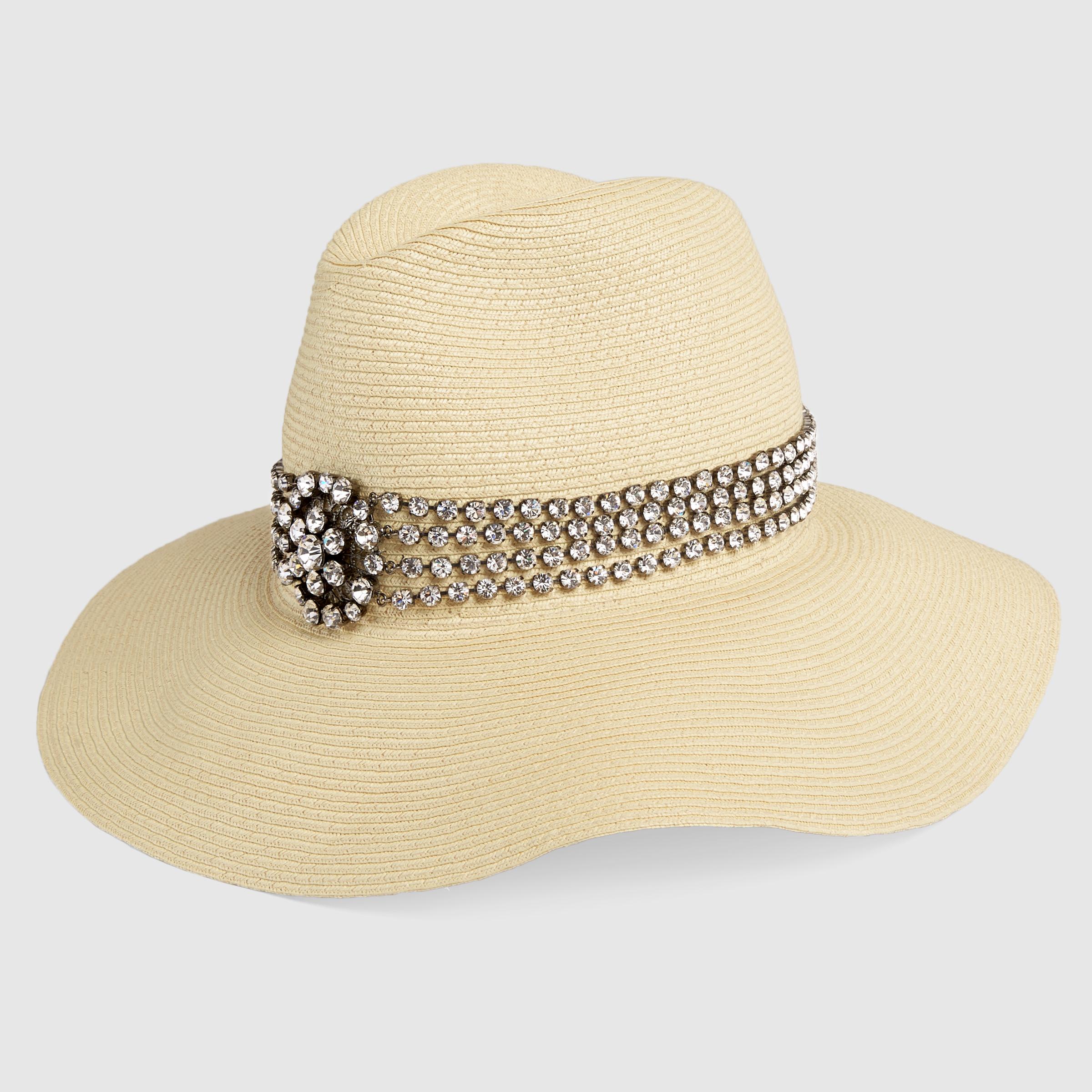 Cappello gioiello in paglia Gucci