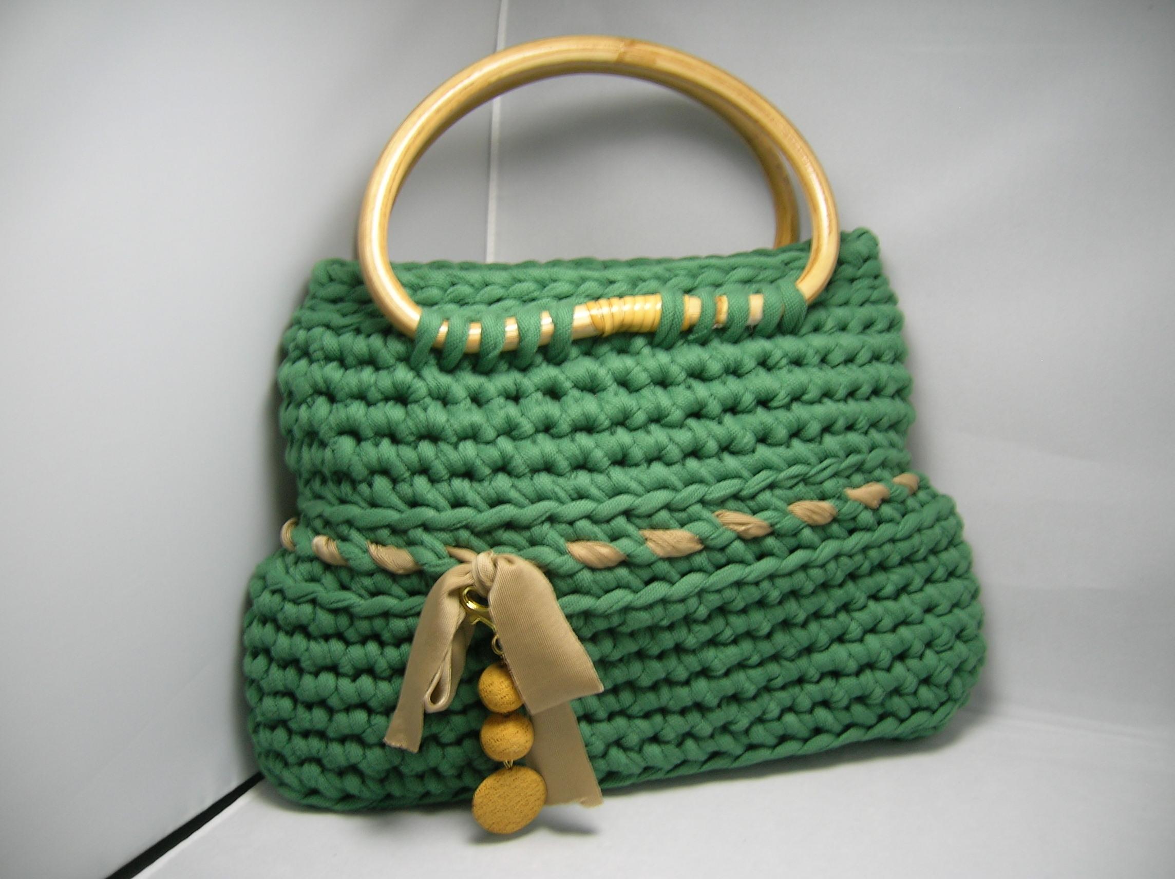 borsa fettuccia verde raso
